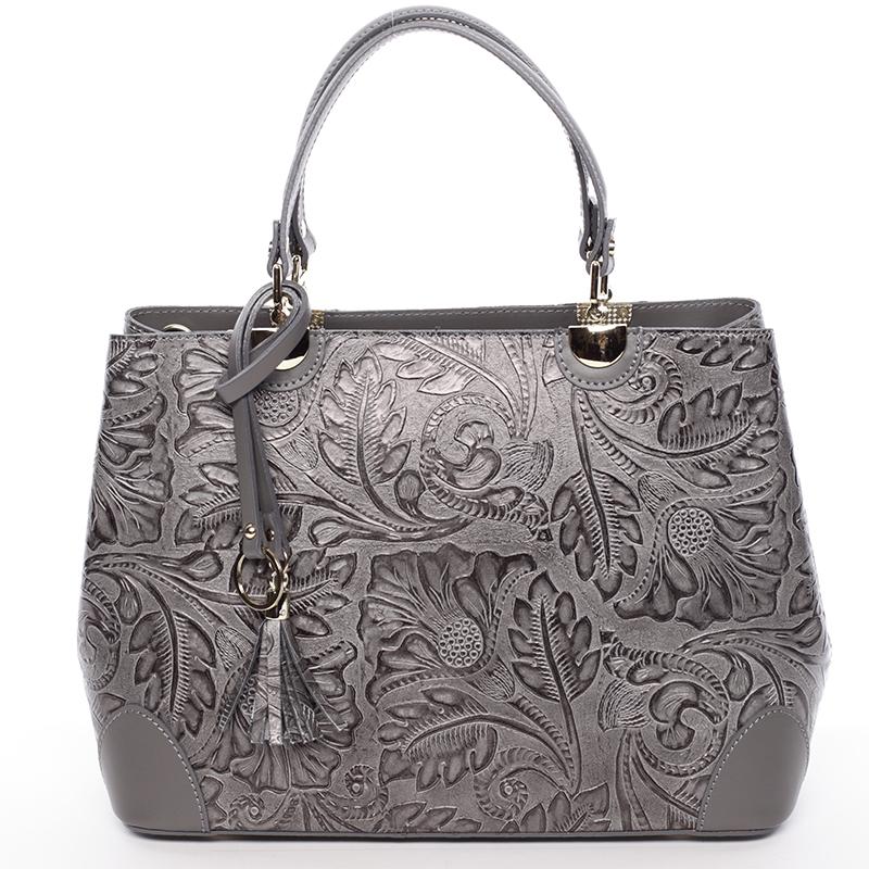 Originální dámská kožená kabelka šedá - ItalY Mattie