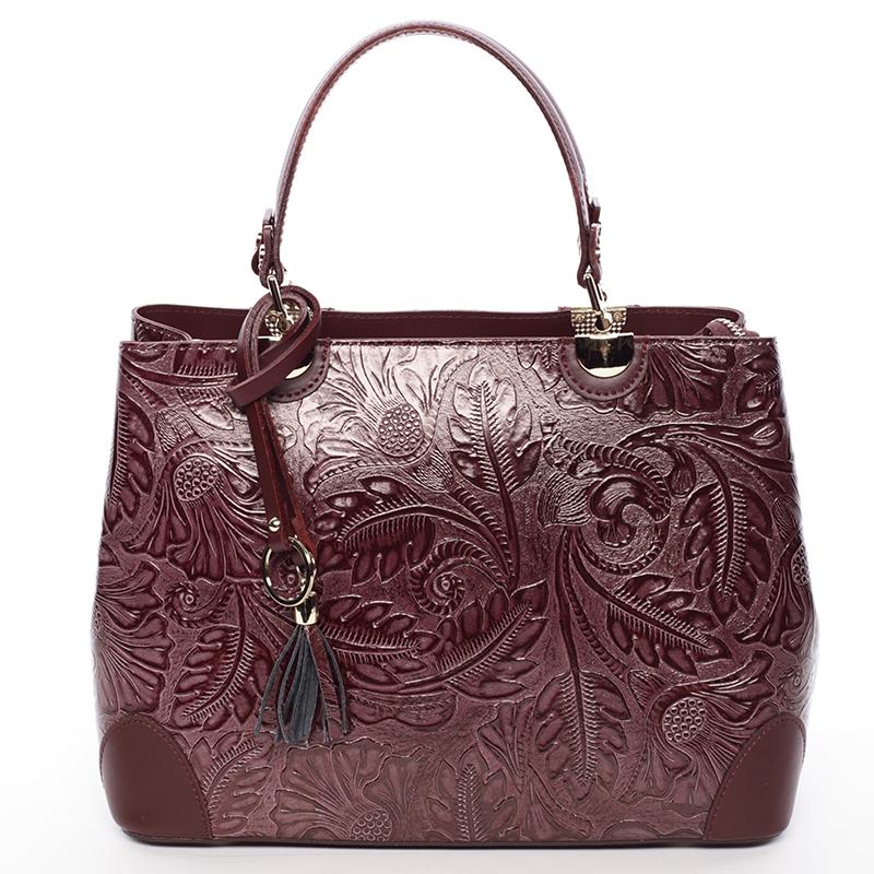 Originální dámská kožená kabelka vínová - ItalY Mattie