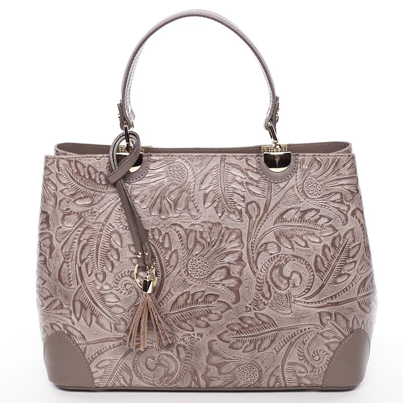 Originální dámská kožená kabelka tmavá taupe - ItalY Mattie