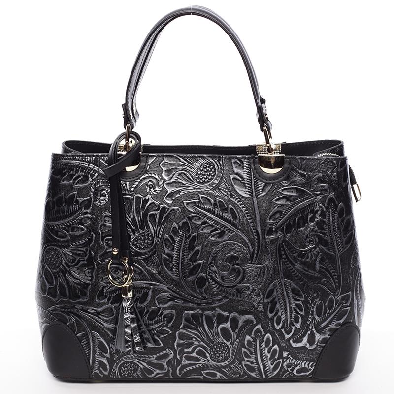 Originální dámská kožená kabelka stříbrná - ItalY Mattie