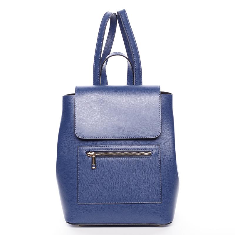 Dámský městský batoh kožený tmavě modrý - ItalY Bernadea
