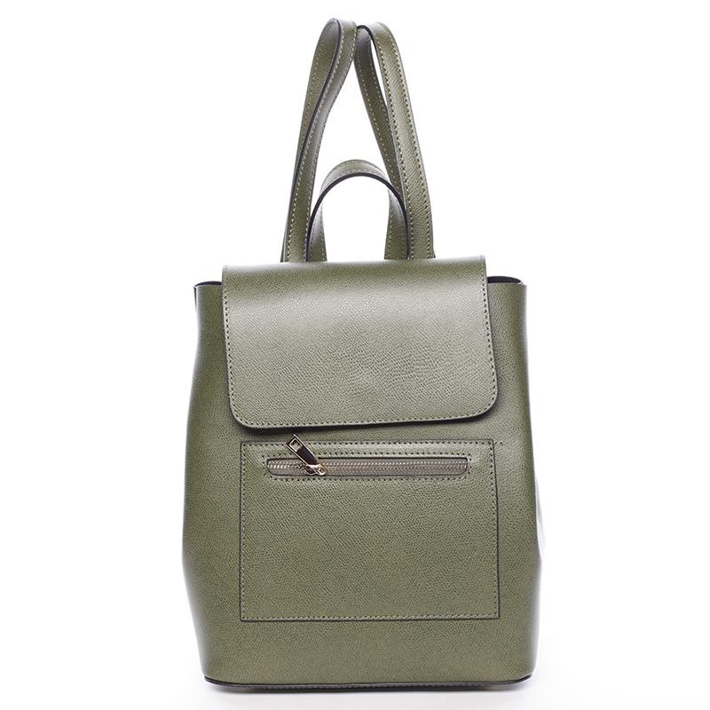 Dámský městský batoh kožený zelený - ItalY Bernadea