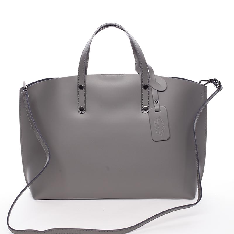 Dámská kožená kabelka tmavě šedá - ItalY Jordana