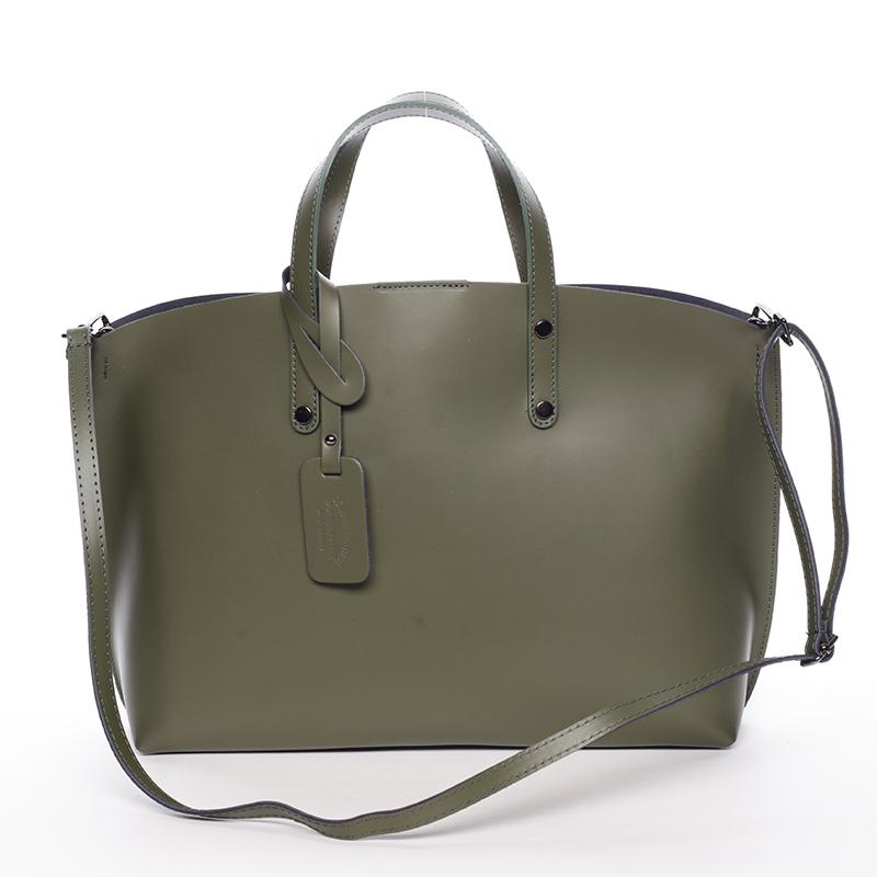Dámská kožená kabelka tmavě zelená - ItalY Jordana