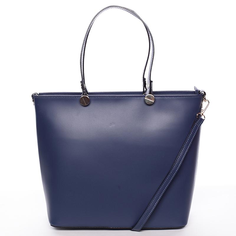 Tmavě modrá kožená luxusní velká kabelka Elza