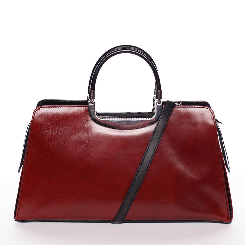Dámská středně velká červeno černá kožená společenská kabelka - ItalY Yalene