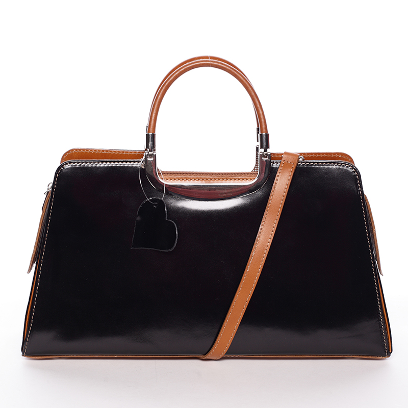 Dámská středně velká černo koňaková kožená společenská kabelka - ItalY Yalene