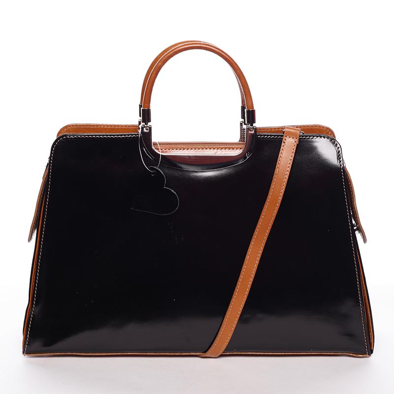 Dámská větší černo koňaková kožená společenská kabelka - ItalY Yanny