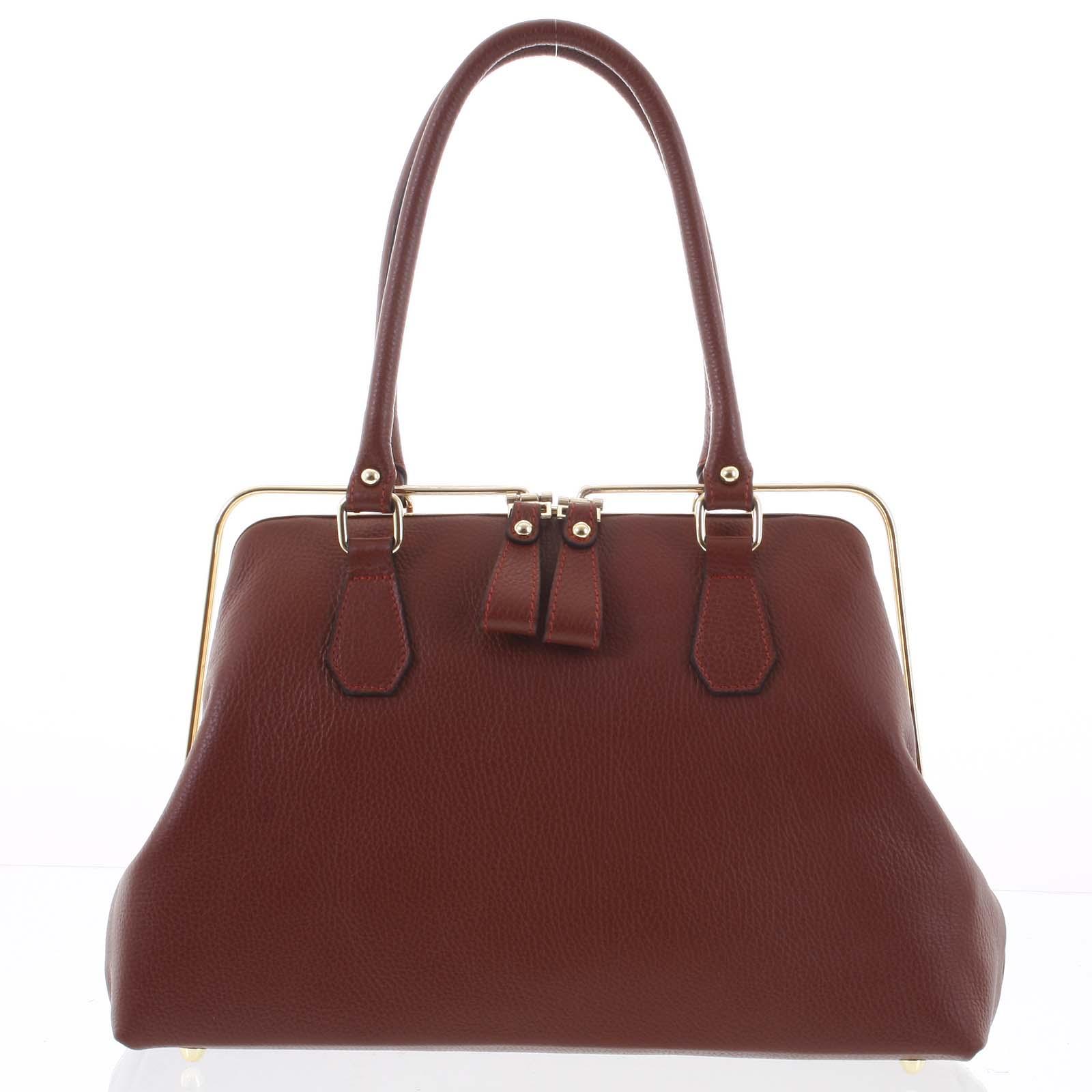 Retro luxusní dámská kožená kabelka tmavě červená - ItalY Esme