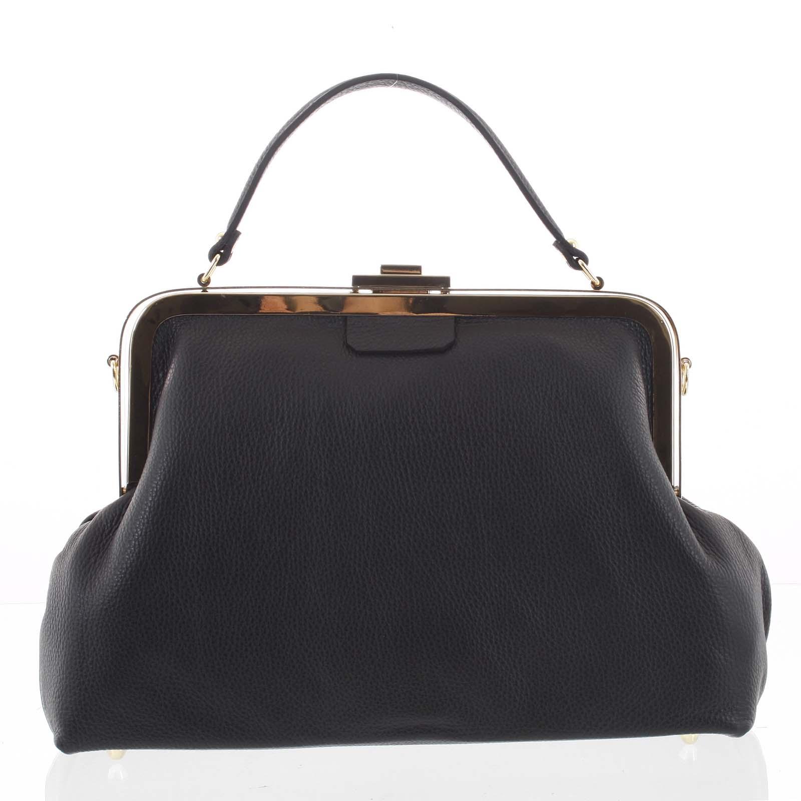 Retro luxusní dámská kožená kabelka černá - ItalY Maty