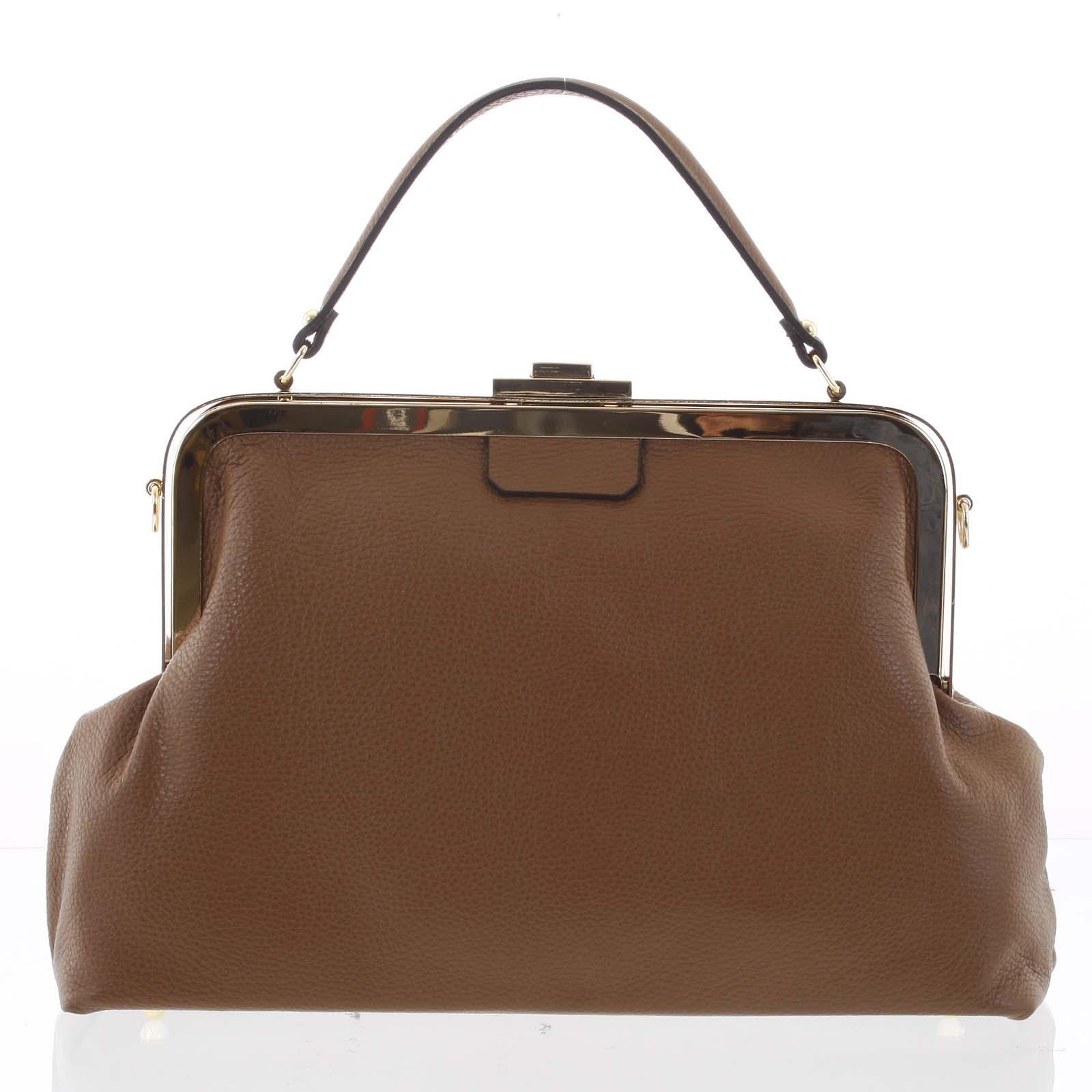 Retro luxusní dámská kožená kabelka hnědá - ItalY Maty
