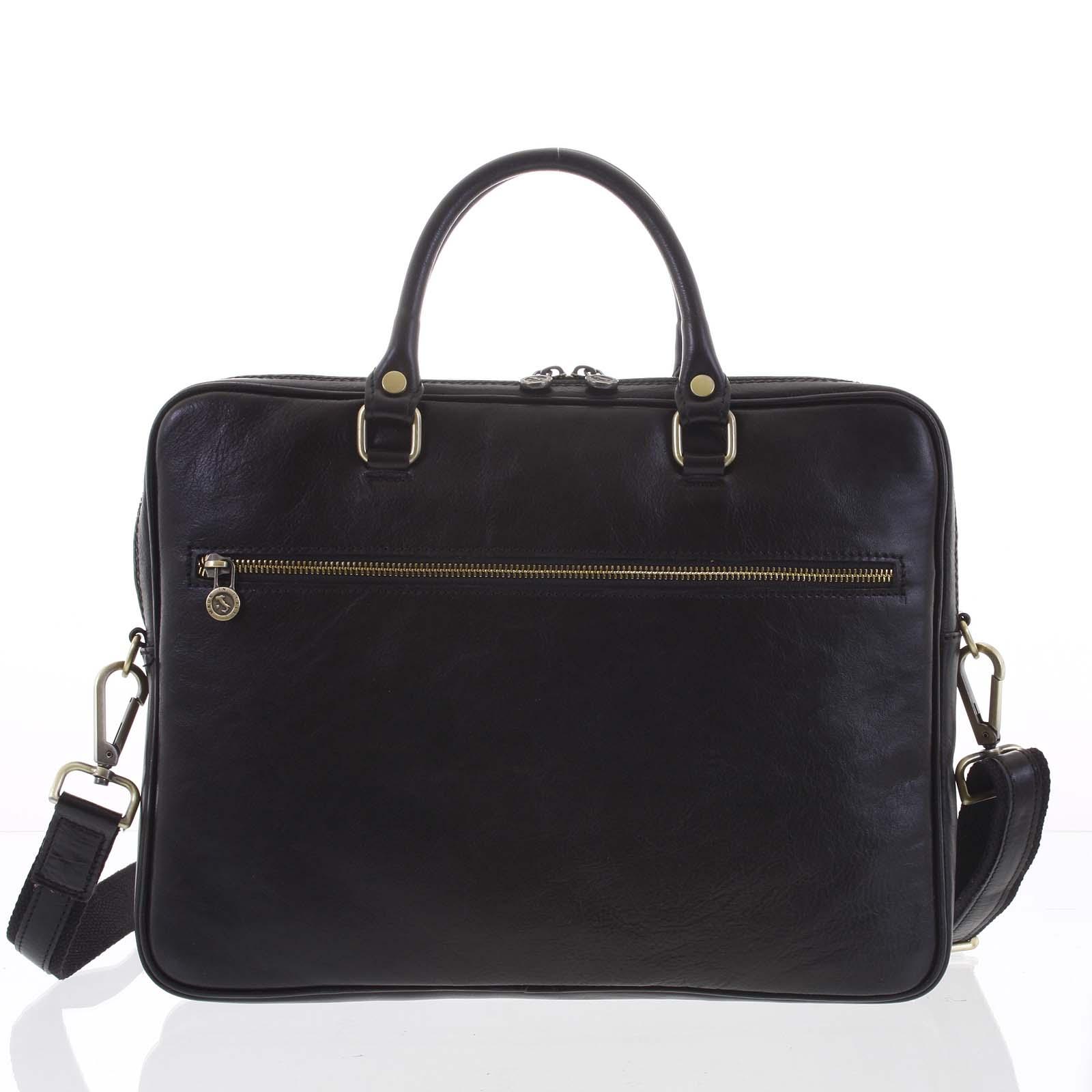 Kožená business taška černá - ItalY Claudio