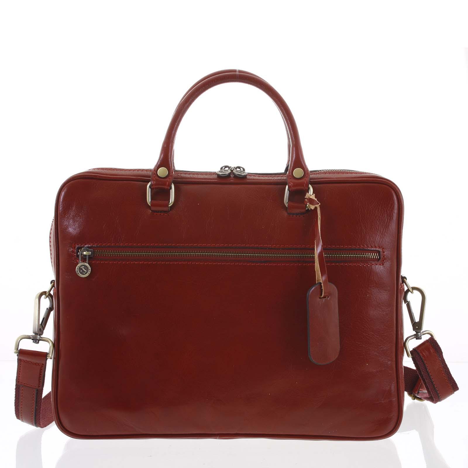 Kožená business taška červená - ItalY Claudio