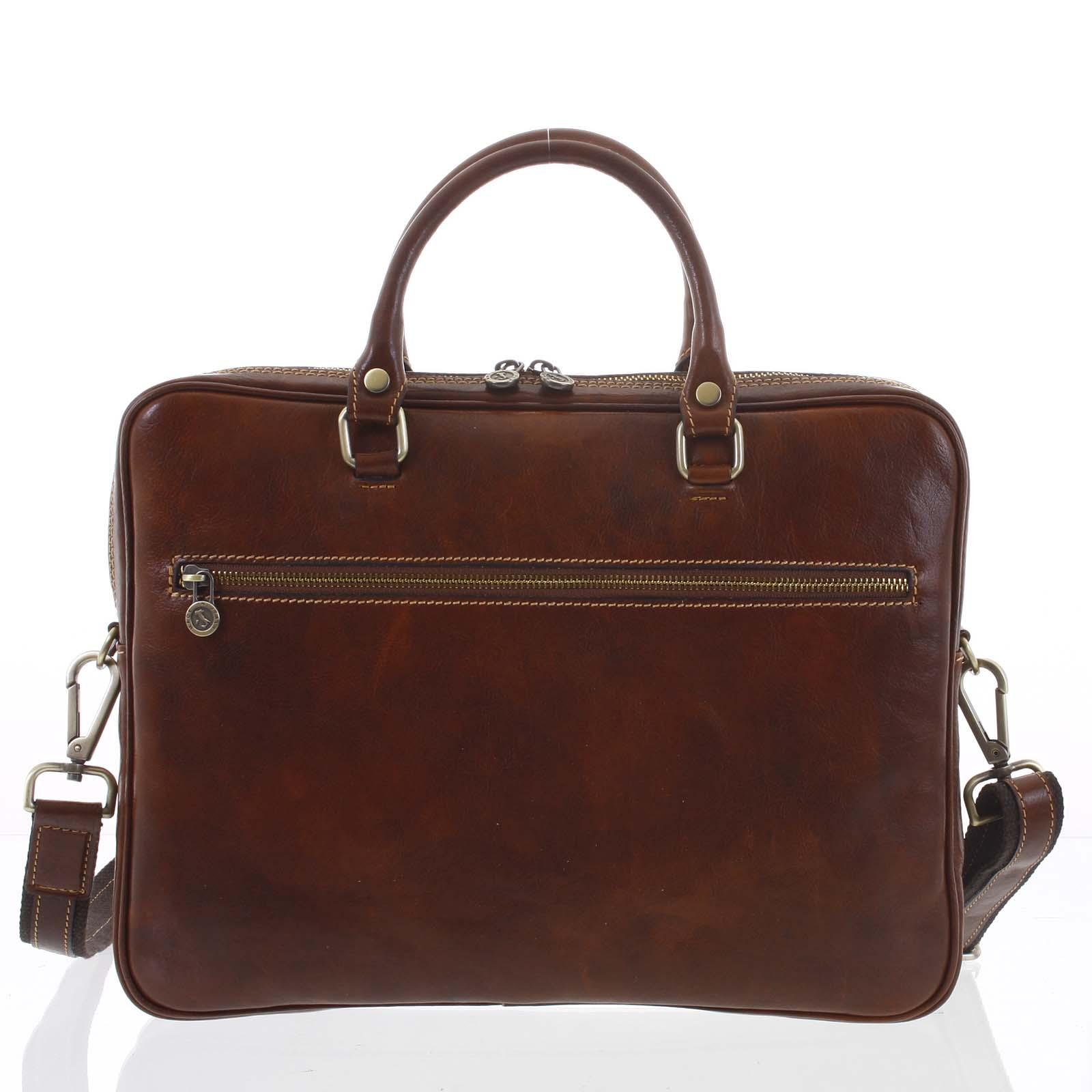 Kožená business taška hnědá - ItalY Claudio