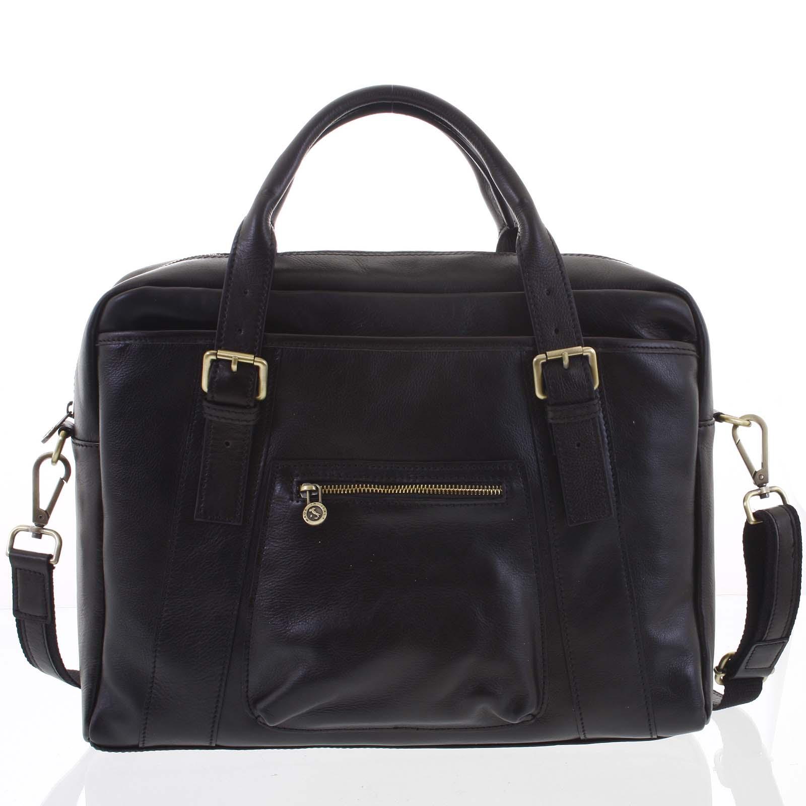 Kožená větší business taška černá - ItalY Fabio