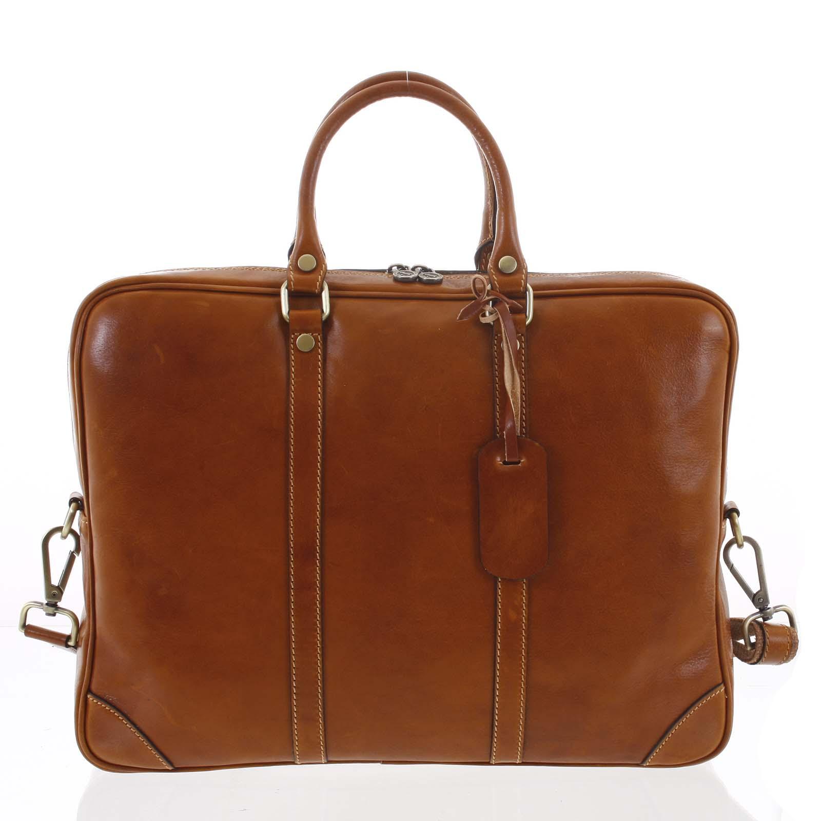 Kožená business taška koňaková - ItalY Paolo
