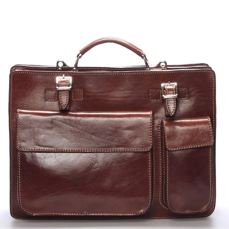 Originální luxusní pánská kožená aktovka hnědá - ItalY K11