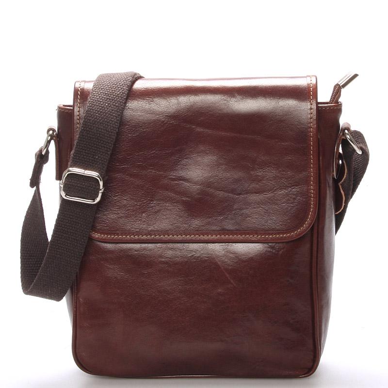 Luxusní hnědá kožená taška přes rameno - ItalY Burcet