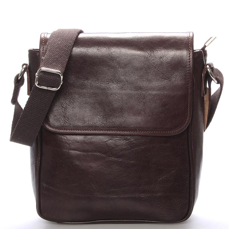Luxusní tmavě hnědá kožená taška přes rameno - ItalY Burcet