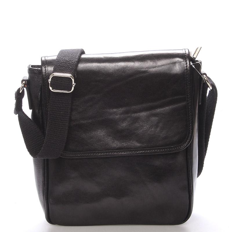 Luxusní černá kožená taška přes rameno - ItalY Burcet