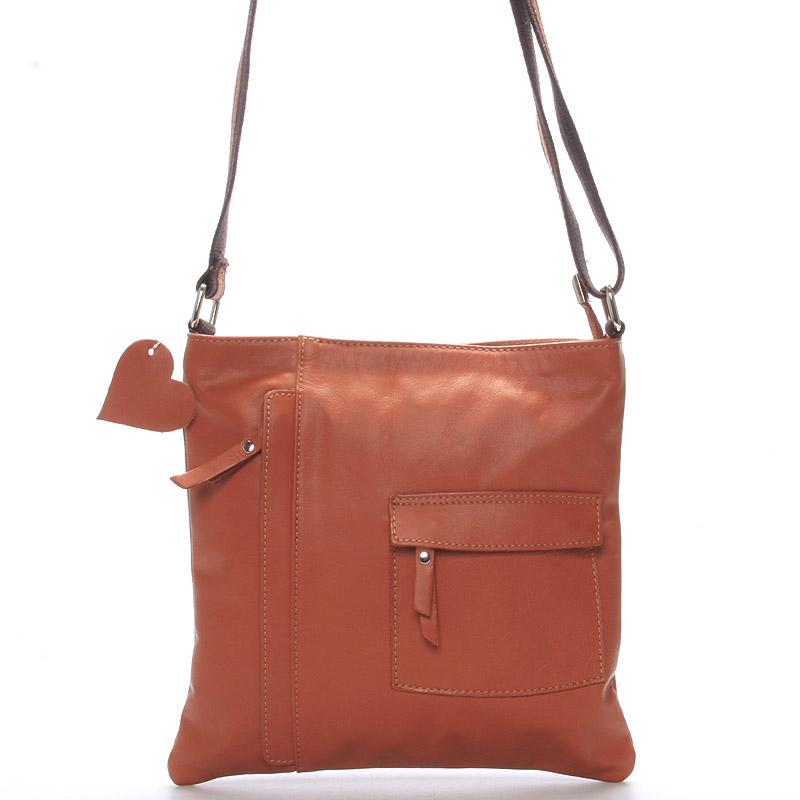 Dámská kožená taška přes rameno světle hnědá - ItalY Cherine