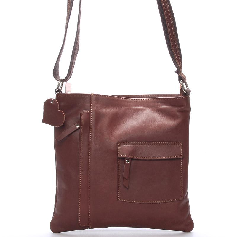 Dámská kožená taška přes rameno hnědá - ItalY Cherine