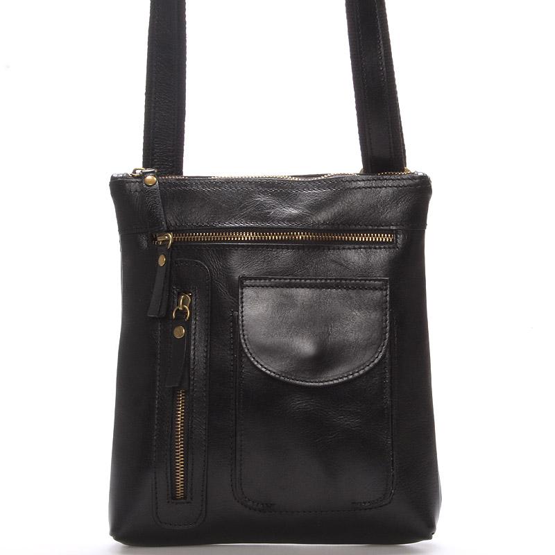 Kožená taška přes rameno černá - ItalY Saber