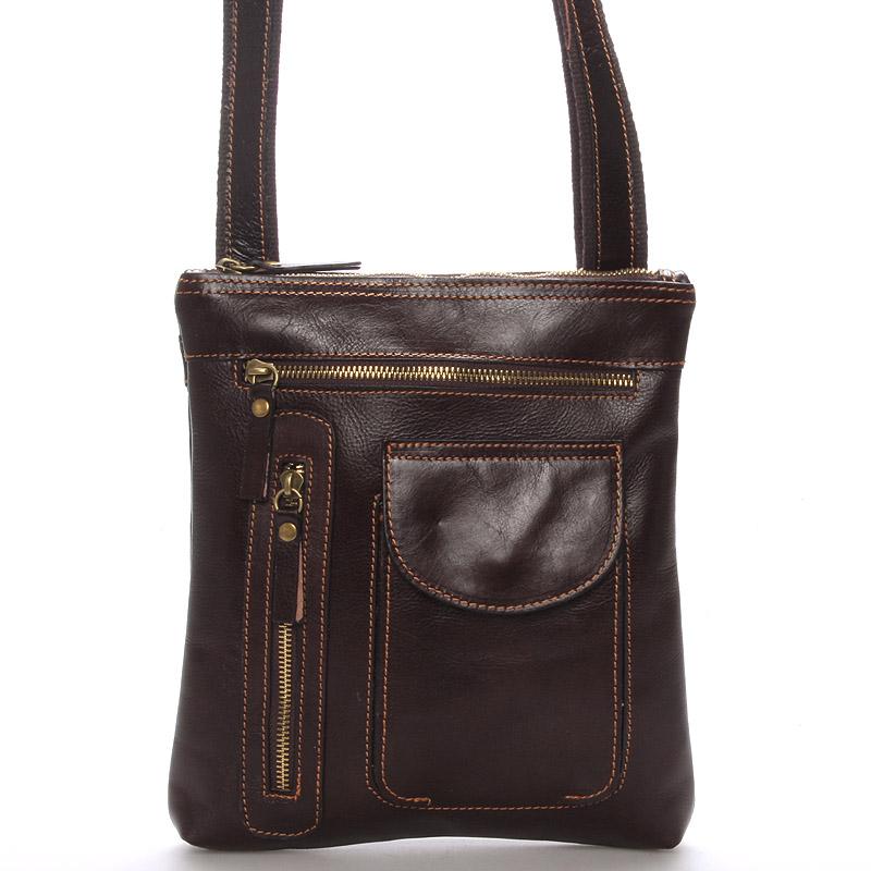 Kožená taška přes rameno hnědá - ItalY Saber