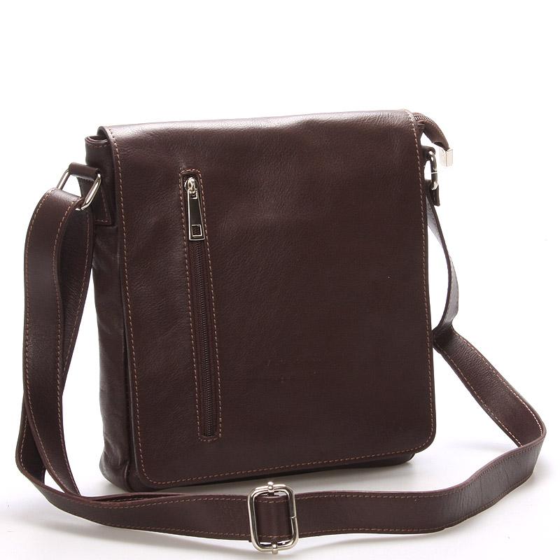 Módní větší tmavě hnědá kožená kabelka přes rameno - ItalY Quenton