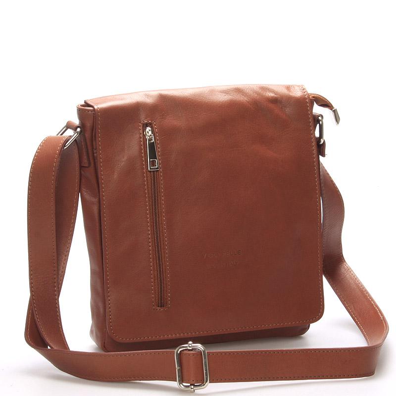 Módní větší hnědá kožená kabelka přes rameno - ItalY Quenton