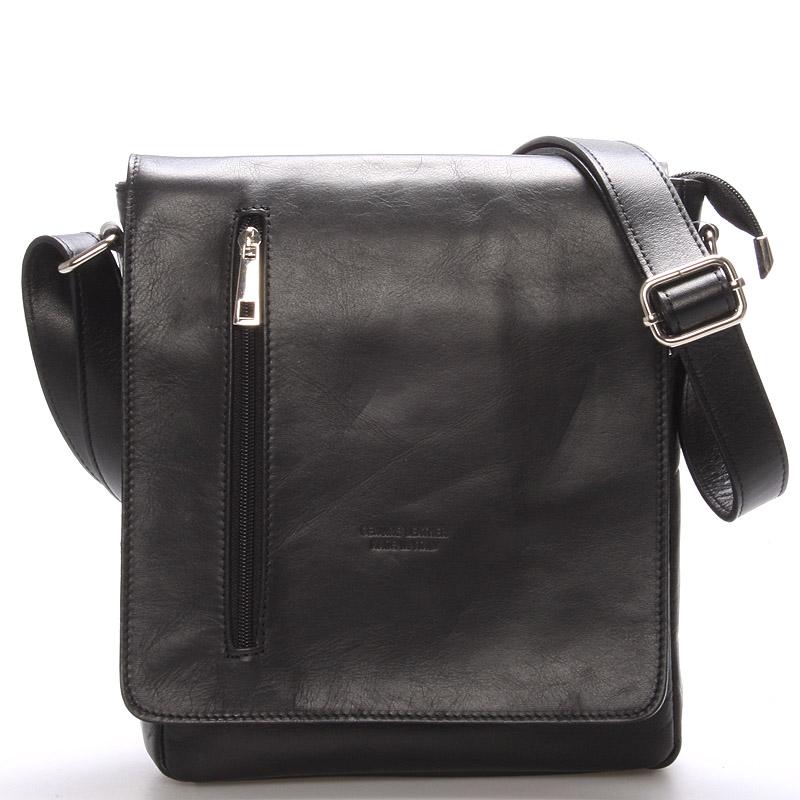 Módní větší černá kožená kabelka přes rameno - ItalY Quenton