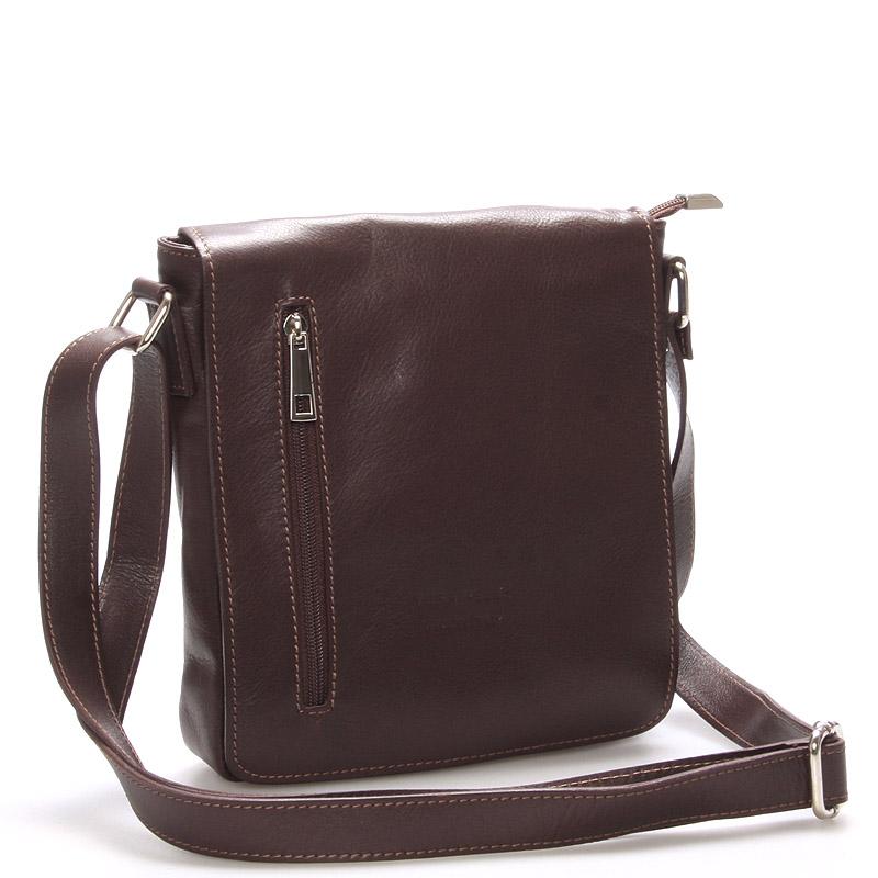 Módní střední tmavě hnědá kožená kabelka přes rameno - ItalY Lowell