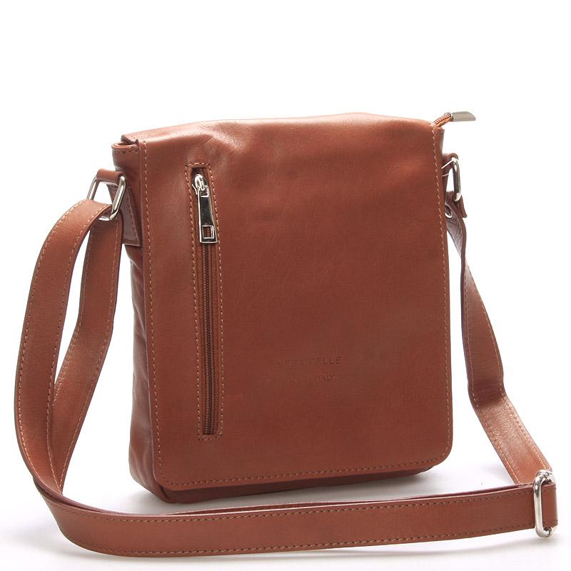 Módní střední hnědá kožená kabelka přes rameno - ItalY Lowell