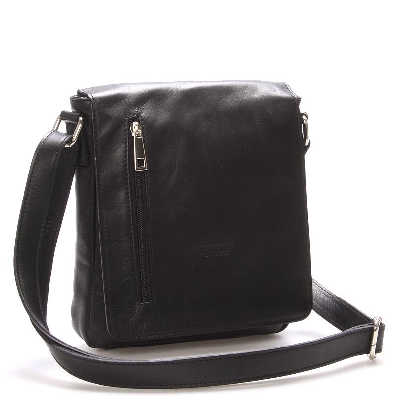 Módní střední černá kožená kabelka přes rameno - ItalY Lowell
