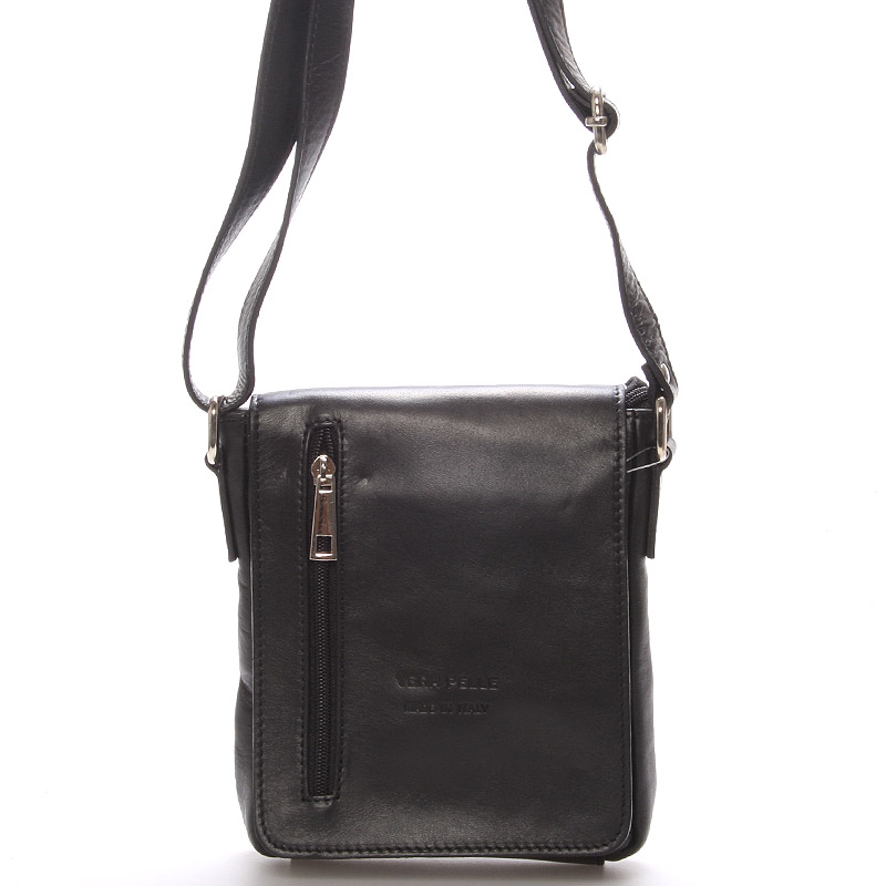 Módní menší černá kožená kabelka přes rameno - ItalY Leroi