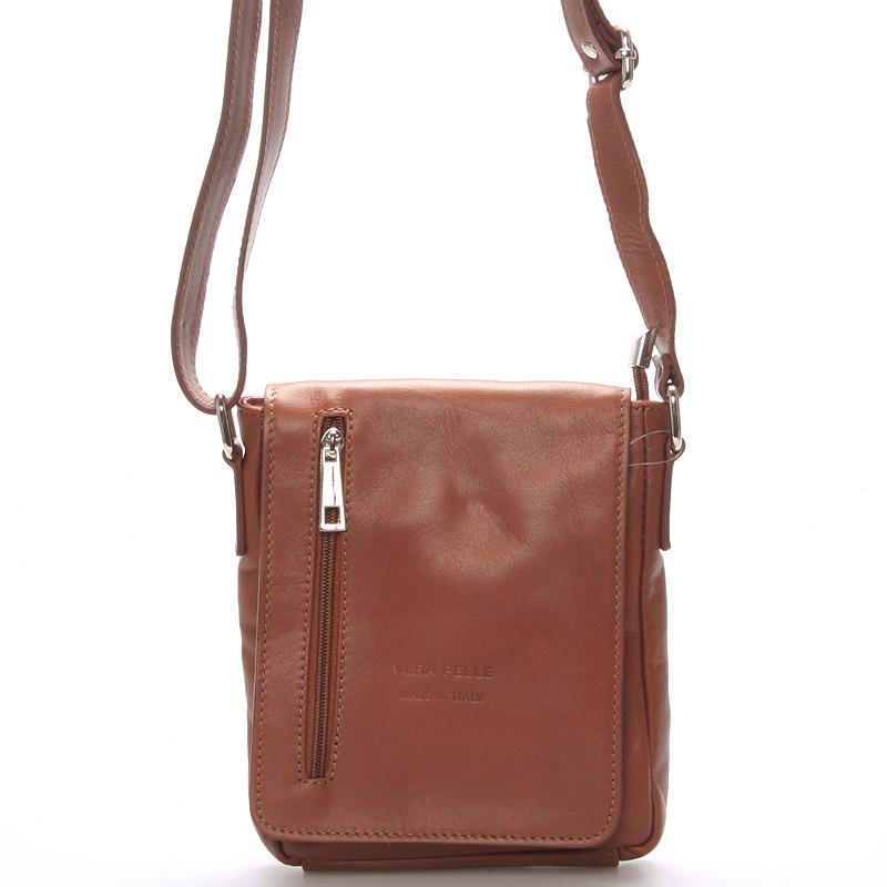Módní menší hnědá kožená kabelka přes rameno - ItalY Leroi