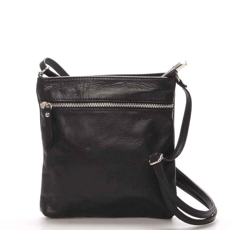 Dámská menší černá kožená kabelka přes rameno - ItalY Slania