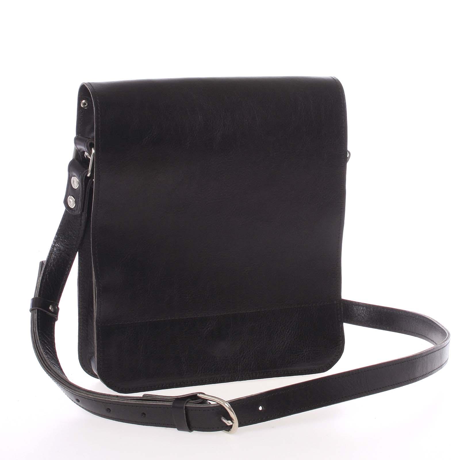 Černá luxusní kožená taška přes rameno Kabea Luxor-T