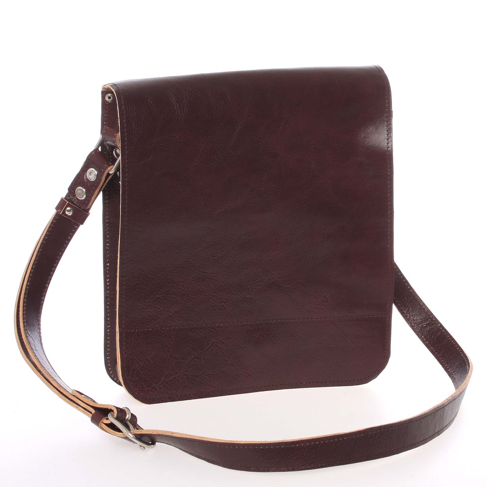 Tmavě hnědá luxusní kožená taška přes rameno Kabea Luxor