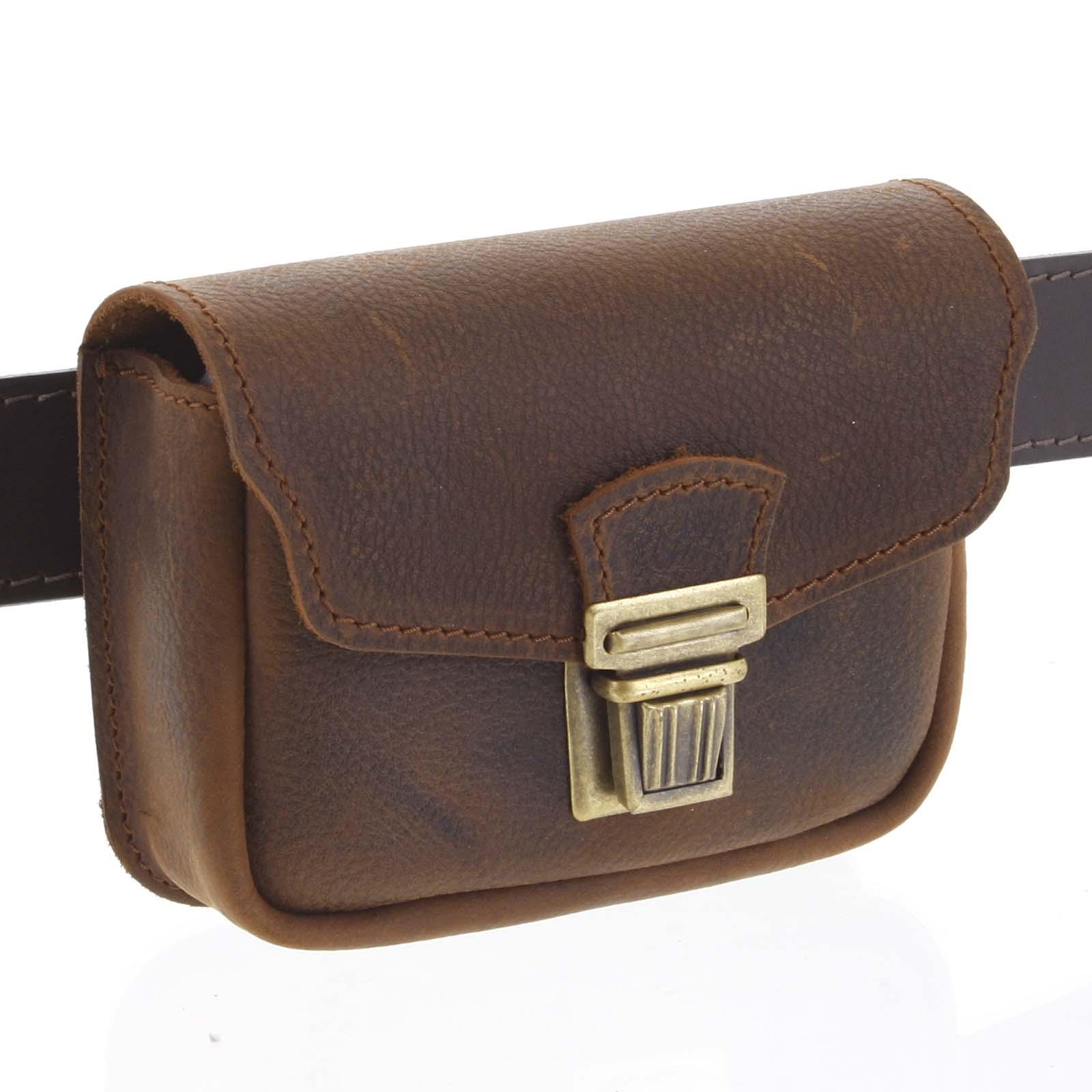 Pánská kožená kapsa na opasek hnědá - Kabea Simplex