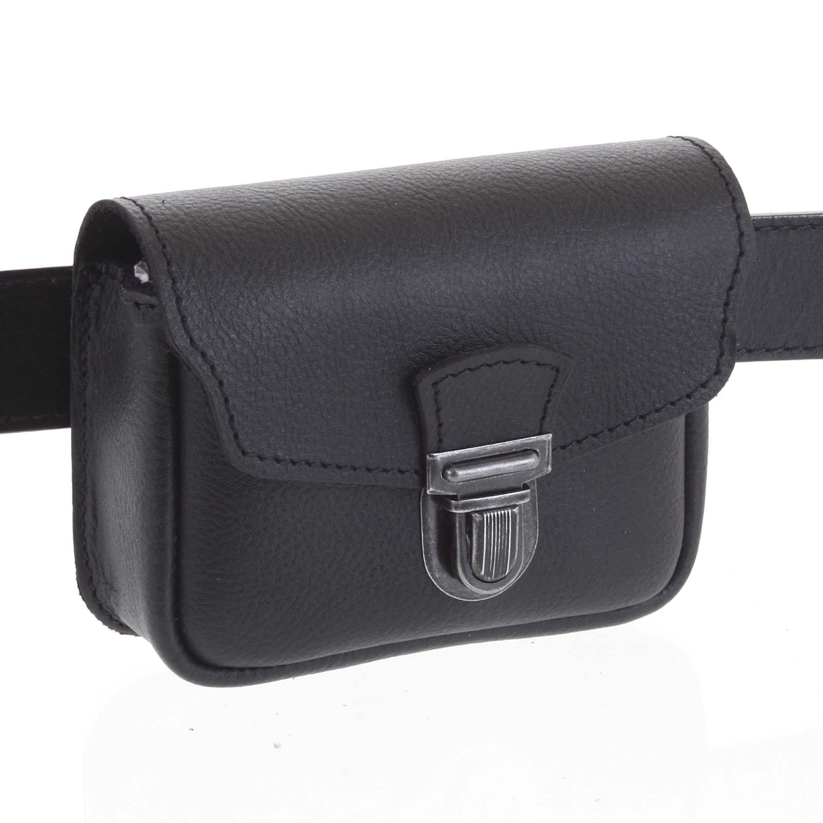 Pánská kožená kapsa na opasek černá - Kabea Simplex