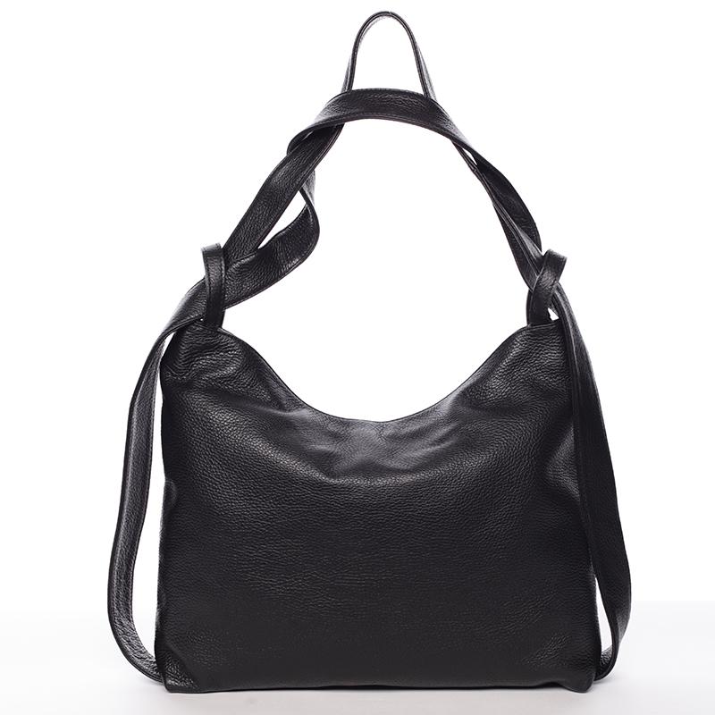Módní černá kožená kabelka přes rameno - ItalY Nympha