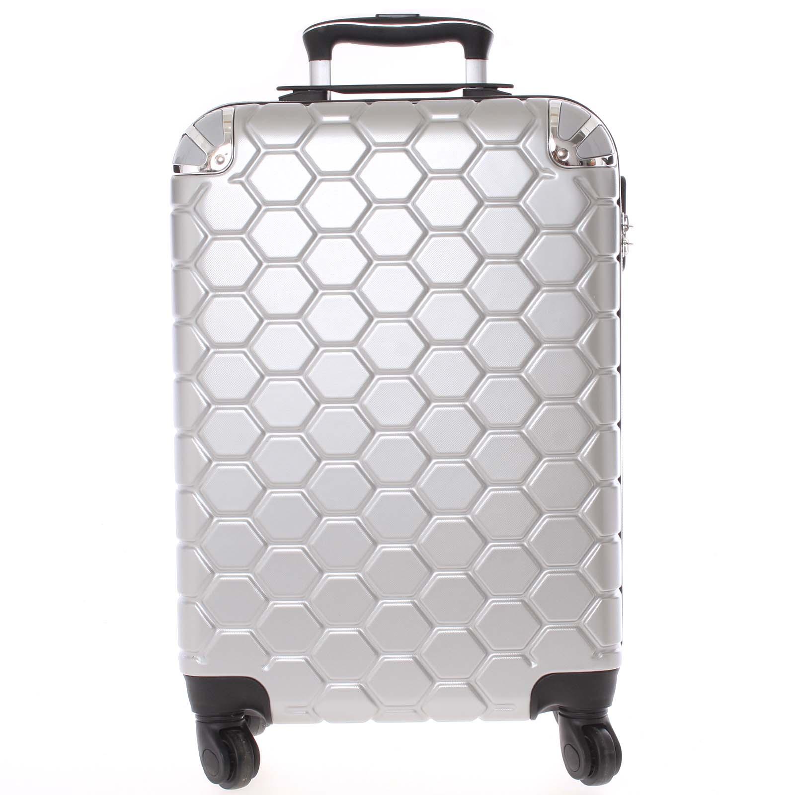 Stříbrný cestovní kufr pevný - Ormi Hive L