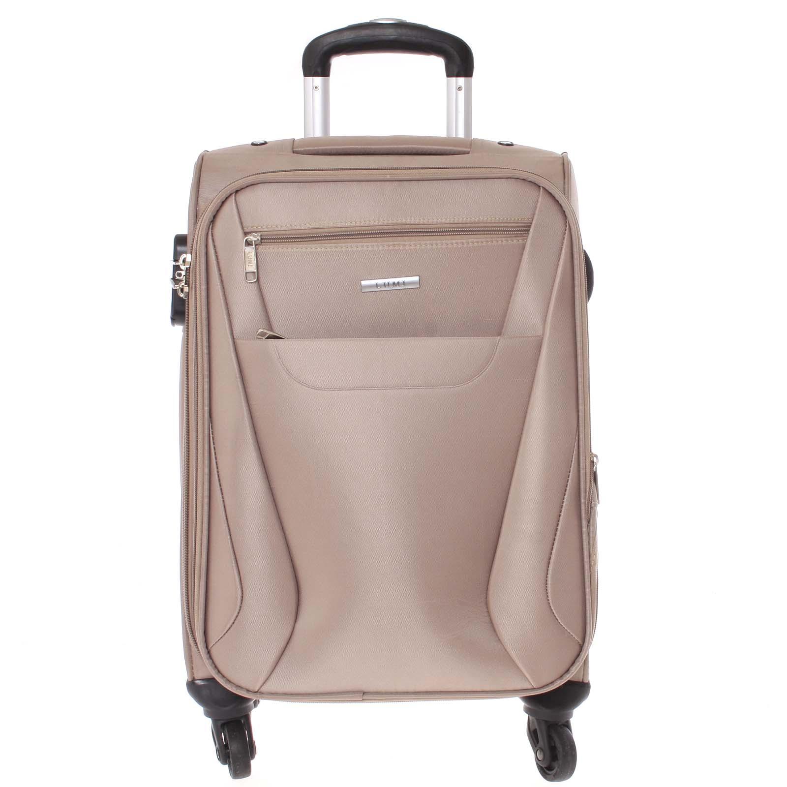 Pevnější látkový kufr tmavý béžový - Lumi Iann M