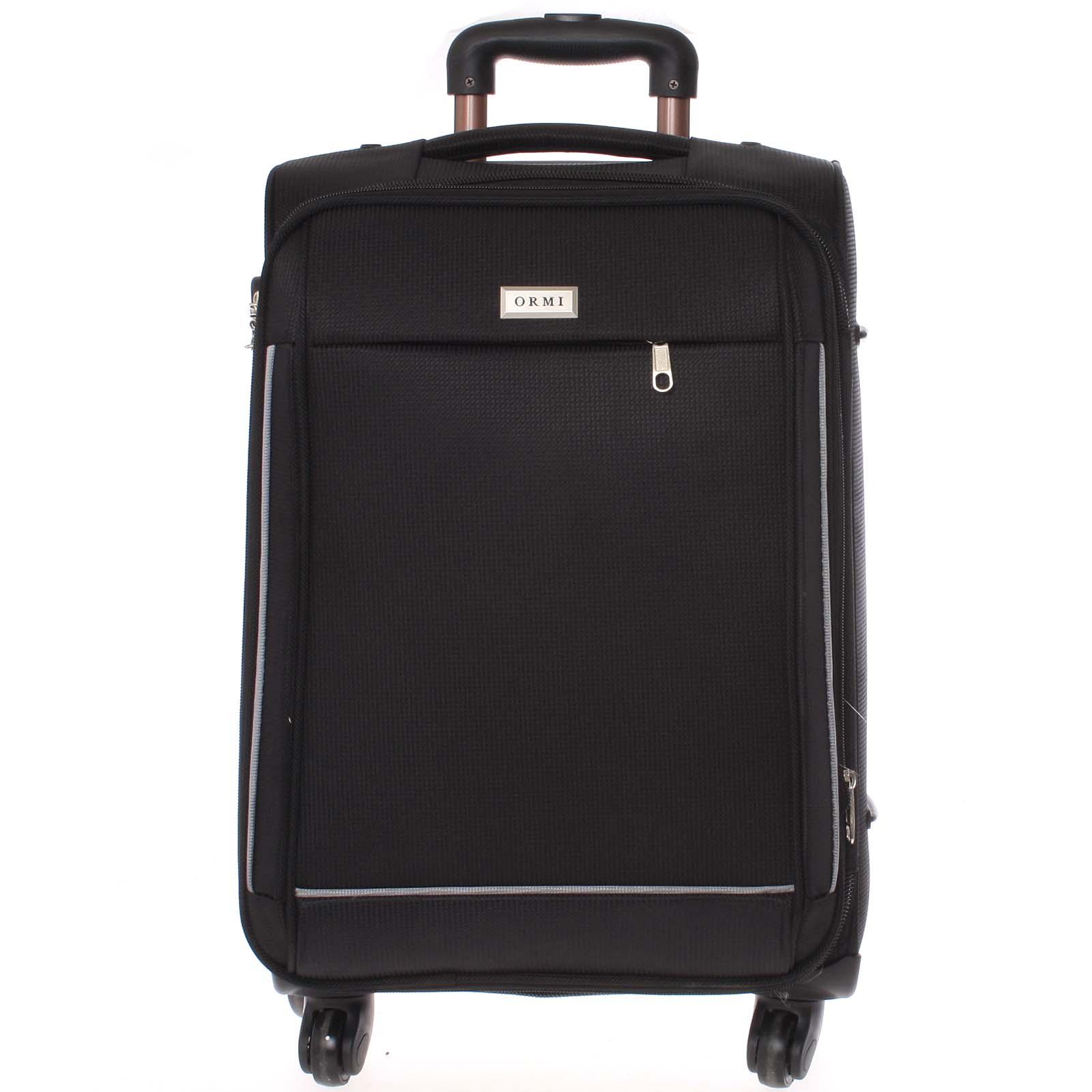 Elegantní černý látkový kufr - Ormi Sleek S