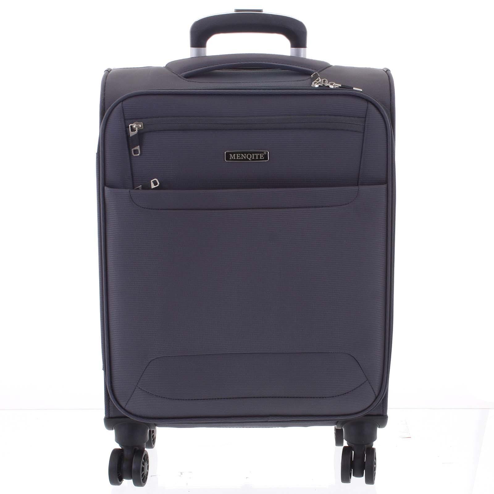 Nadčasový lehký látkový cestovní kufr šedý - Menqite Timeless S