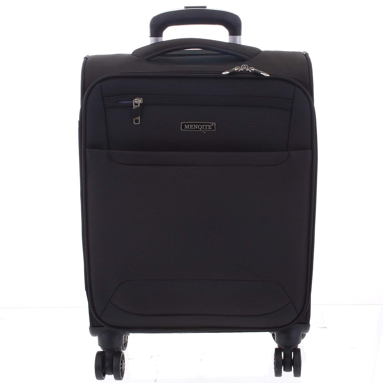 Nadčasový lehký látkový cestovní kufr černý - Menqite Timeless S