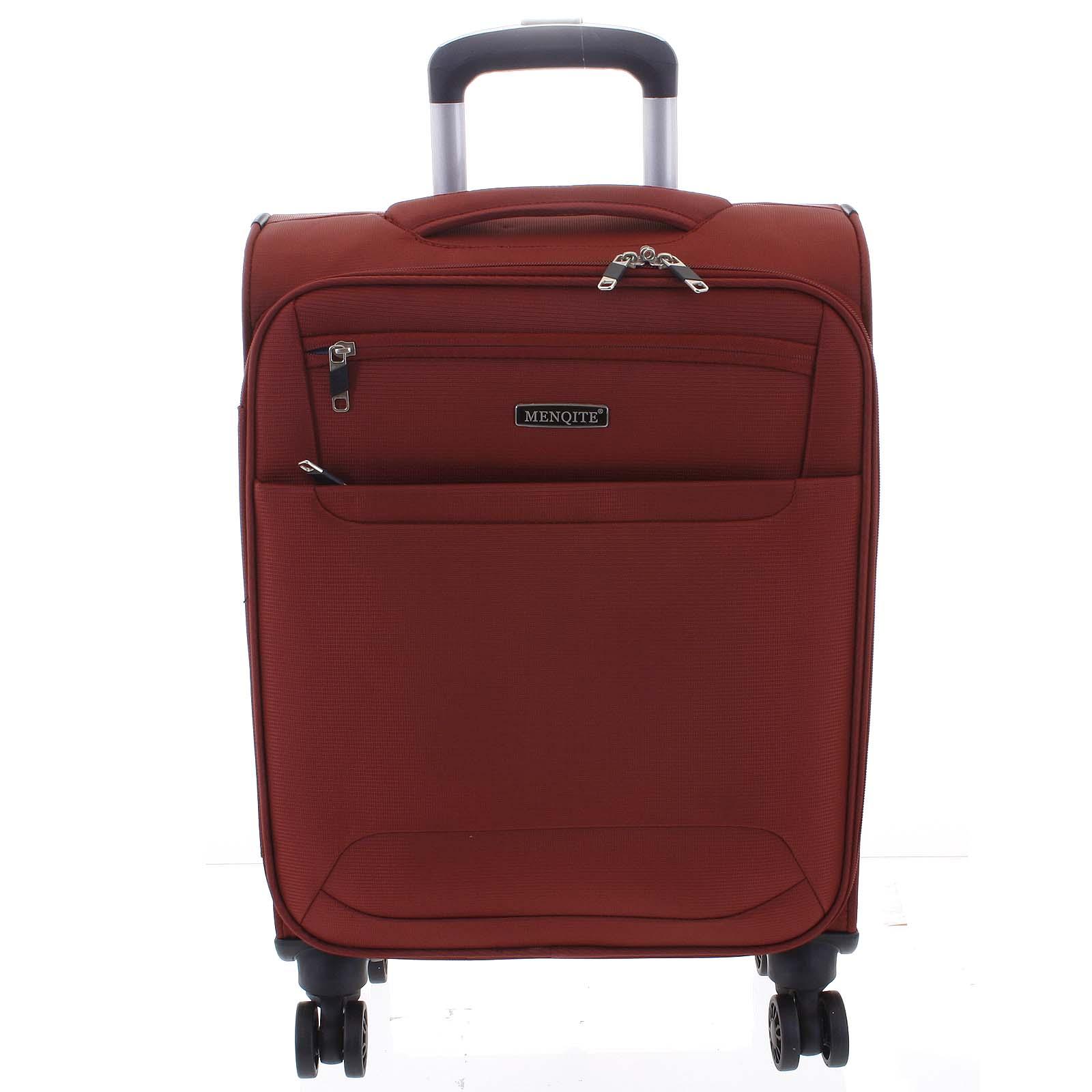 Nadčasový lehký látkový cestovní kufr červený - Menqite Timeless M