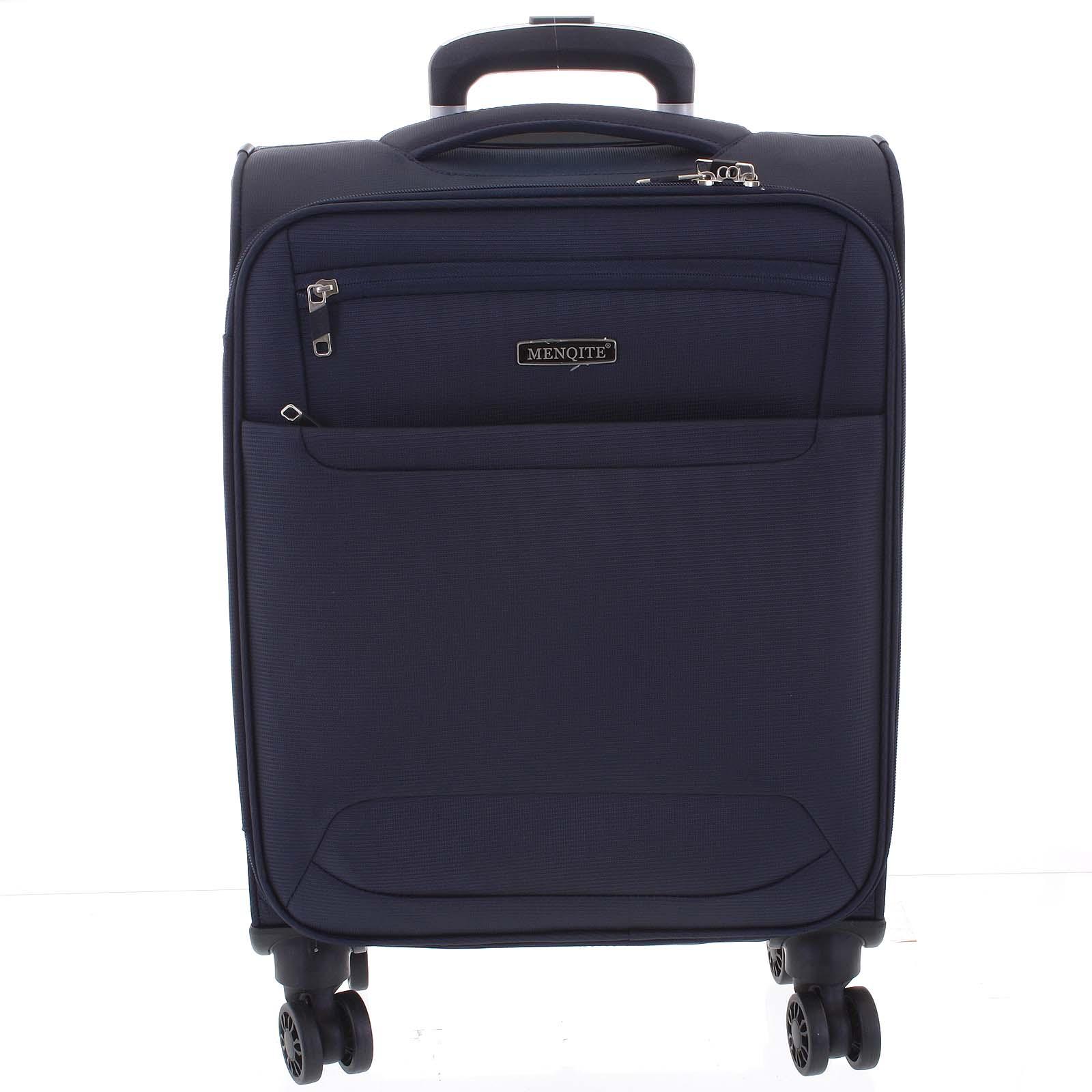 Nadčasový lehký látkový cestovní kufr tmavě modrý - Menqite Timeless M