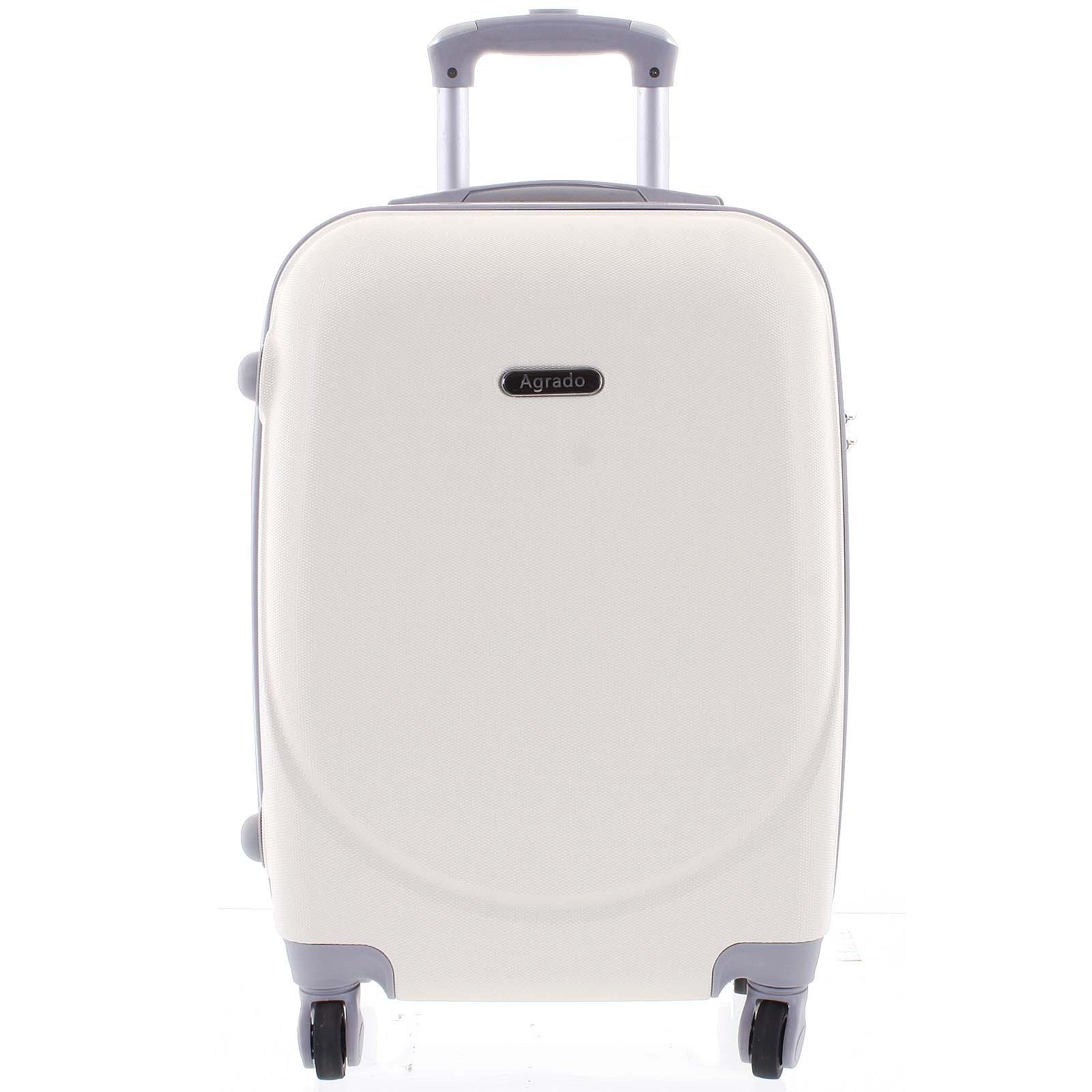 Kvalitní a elegantní pevný krémově bílý cestovní kufr - Agrado Peter L